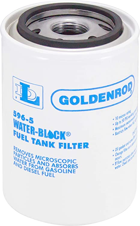"""596 Canister Water-Block Fuel Tank Filter with 1/"""" NPT Top Cap GOLDENROD"""