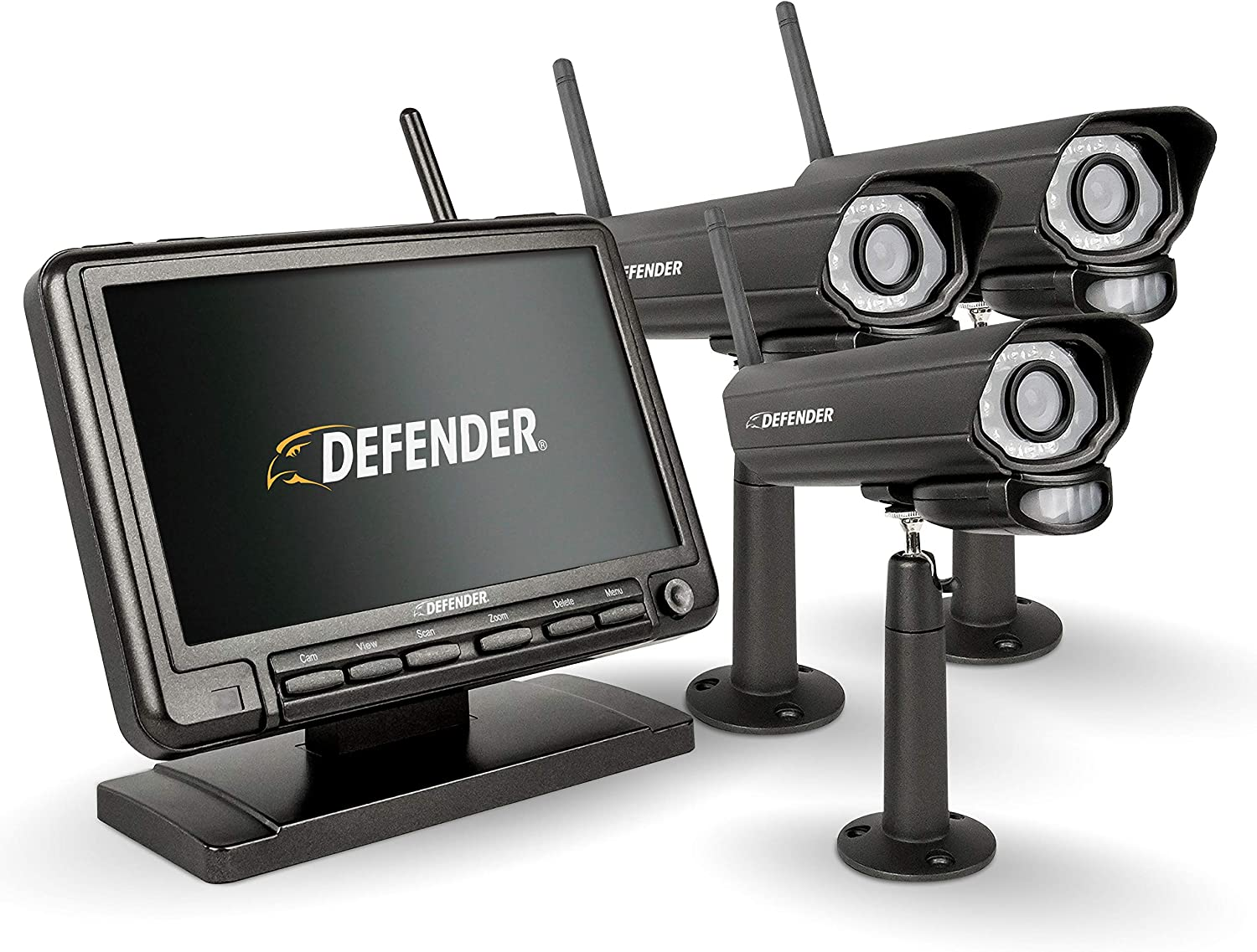 Defender PhoenixM2 Security System - Indoor and Outdoor Wireless Security System Camera with LCD Screen - Business and Home Security System Plug and Play, No WiFi Connection Required (3 Cameras)