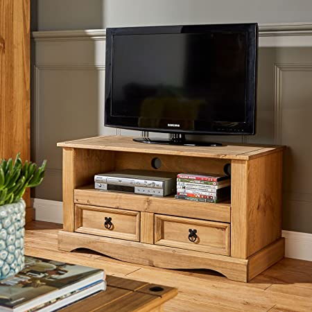 Corona Flat Screen TV Unit | TV Stand Mexican Pine TV Table | 2 Drawers |