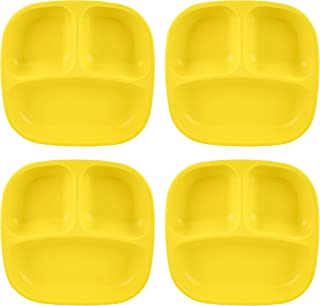 """product image for Re-Play Recycled Products Small Divided Plates, Set of 4 (7.375"""" Divided Deep Walled Plates, Yellow)"""