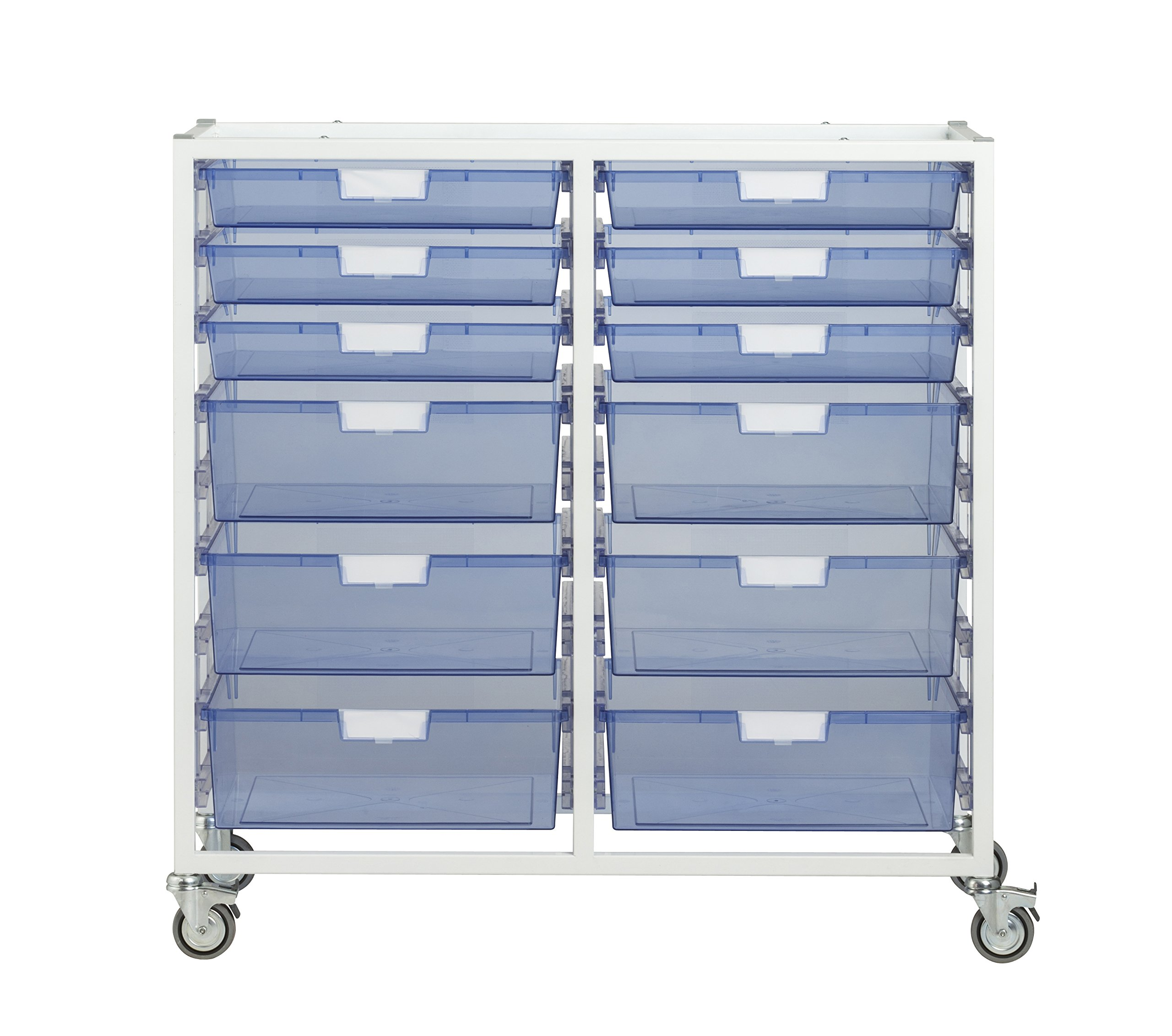 StorSystemUSA CE2303WTB 12 Tray Swift II Tower Crystal 'Wide Line' Metal Cart, Tinted Blue