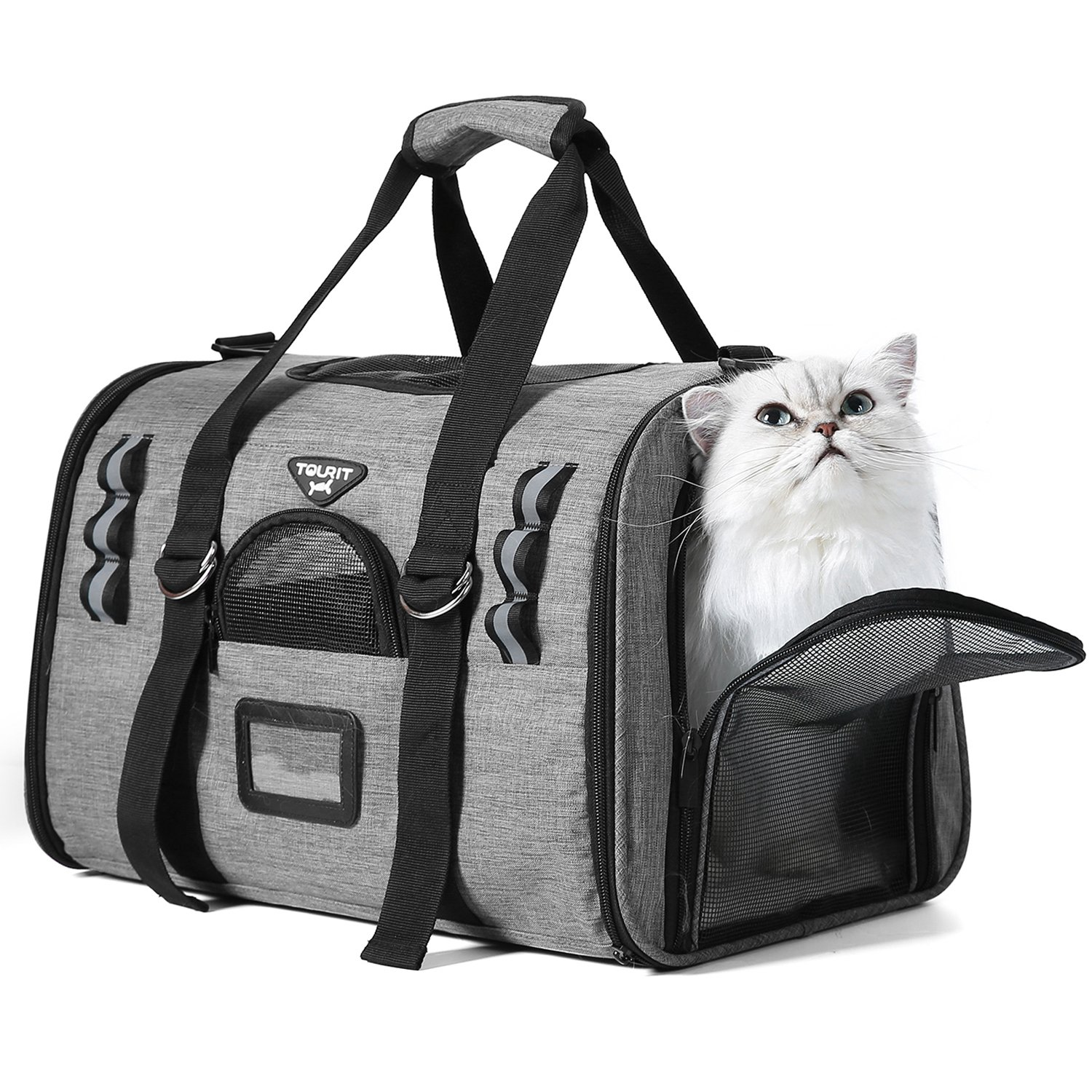 TOURIT Soft Sided Cat Carrier Airline Approved Under Seat Sturdy Pet Travel Carrier with 2 Fleece Pads for Small Dogs and Cats Ideal for Vet Visits Outdoor