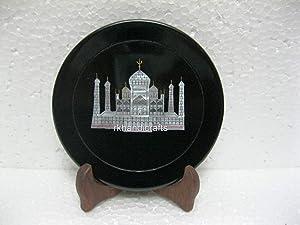 rkhandicrafts Round Shape Black Marble Decorative Plate Taj Mahal Replica Inlaid Round Wall Plate for Decor