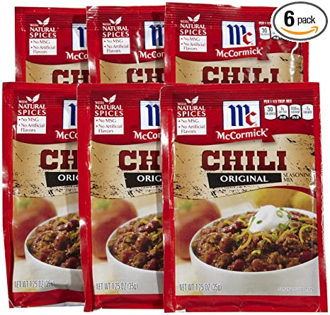 Amazon Com Mccormick Chili Seasoning Mix 1 25 Oz 6 Pk Grocery Gourmet Food