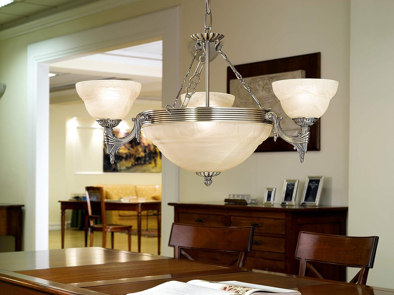EGLO Deckenlampe Marbella Rustikal Wohnzimmerlampe aus br/üniertem Metallguss und Alabaster-Glas in champagner Flurlampe Decke mit E14 Fassung K/üchenlampe 3 flammige Deckenleuchte Vintage