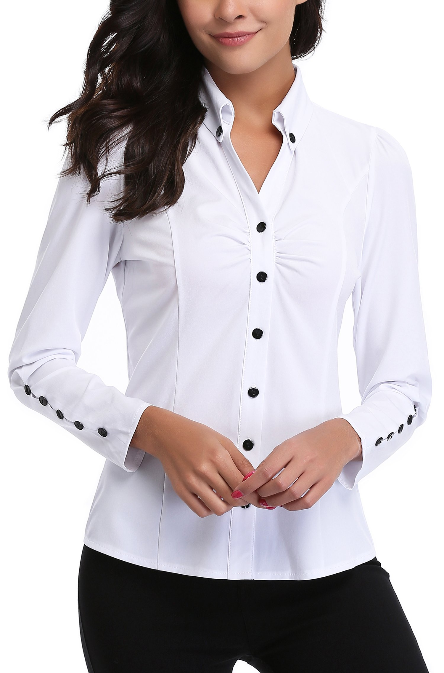 MISS MOLY Women's White Button Down Shirt V Neck Collar Puff Sleeve Office M by MISS MOLY (Image #1)