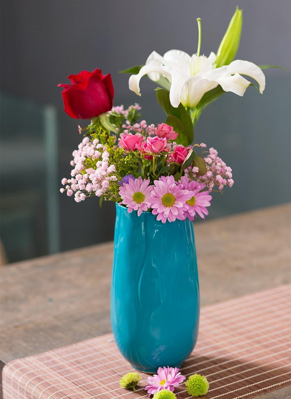 H25.5cm Lot de deux vases de table d/écoratif en c/éramique /Ø13.5cm couleur bleu