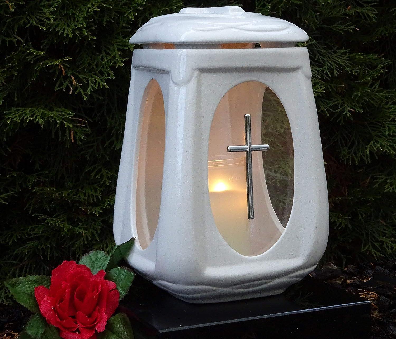 Kerze Grabschmuck Grablampe Grablaterne Grablicht Grableuchte WW.K-2-ro-sr