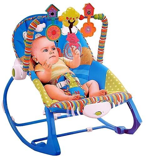 Stupendous Mousepotato Infant To Toddler Rocker Chair With Calming Vibrations Metal Frame Blue Short Links Chair Design For Home Short Linksinfo