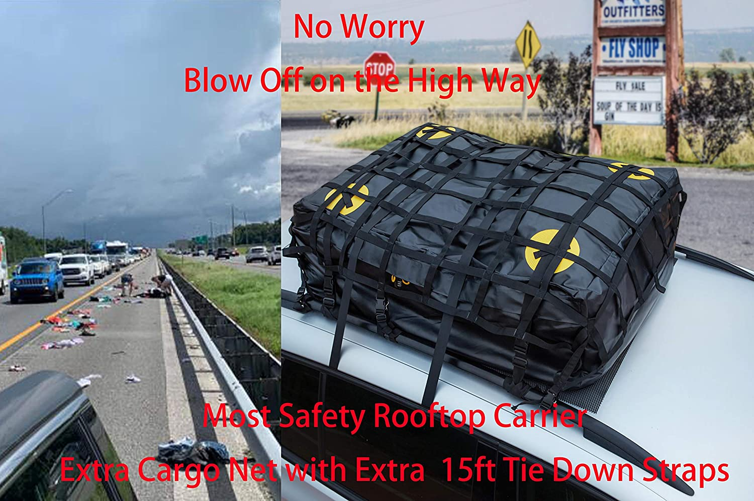 Alfa Gear Waterproof Most Secure No Blow Off Car Roof Bag Cargo Bag Car Roof Top Carrier Soft-Shell Carriers with Extra Tie Down Straps,Anti-Slip mats,Safety Lock,Cargo Net 15 Cu.ft Capacity Black