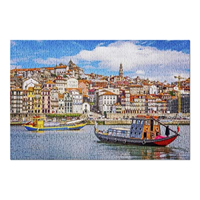 Porto, Portugal - Douro River Boats & Skyline 9032593 (Premium 500 Piece Jigsaw Puzzle for Adults, 13x19, Made in USA!): Toys & Games