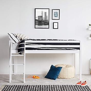 Vonhaus Wooden Mid Sleeper Bed Frame Stylish 3ft Single Solid Pine