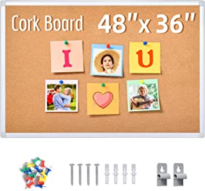Cork Board, Bulletin Board, 48 x 36 Inches, Silver Aluminum Frame Corkboard with 16 Colored Push Pin, Cork Boards for Walls Suitable for Office School Restaurant to Pin Notice Poster Papers
