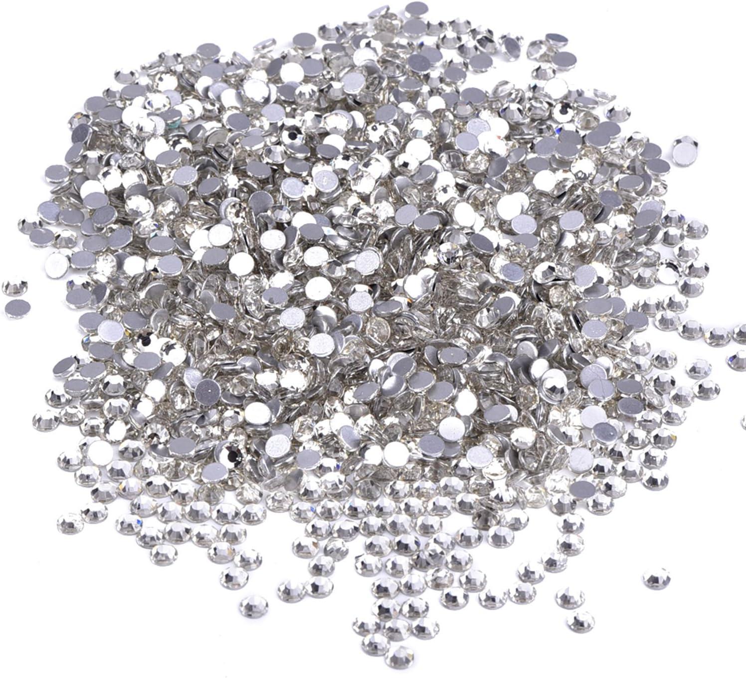 1440 Paquete Crystal Posterior Plana Diamantes de Imitaci/ón Espalda Plana Flat Back Rhinestone No Autoadhesivo 4mm