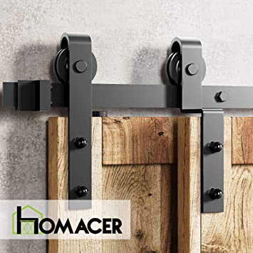 Amazon Com Homacer Sliding Barn Door Hardware Single Track Bypass Double Door Kit 10ft Flat Track Classic Design Roller Black Rustic Heavy Duty Interior Exterior Use Home Improvement