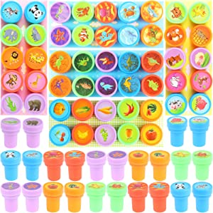 Ujuuu 50PCS Assorted Stamps Self Ink Stampers Dinosaurs/Farm Undersea Animals/Wild Animals/Fruits/Vegetables Best Rubber Self Inking Holiday Stamp Set for Kids Party Toys,Goody Bag Favors