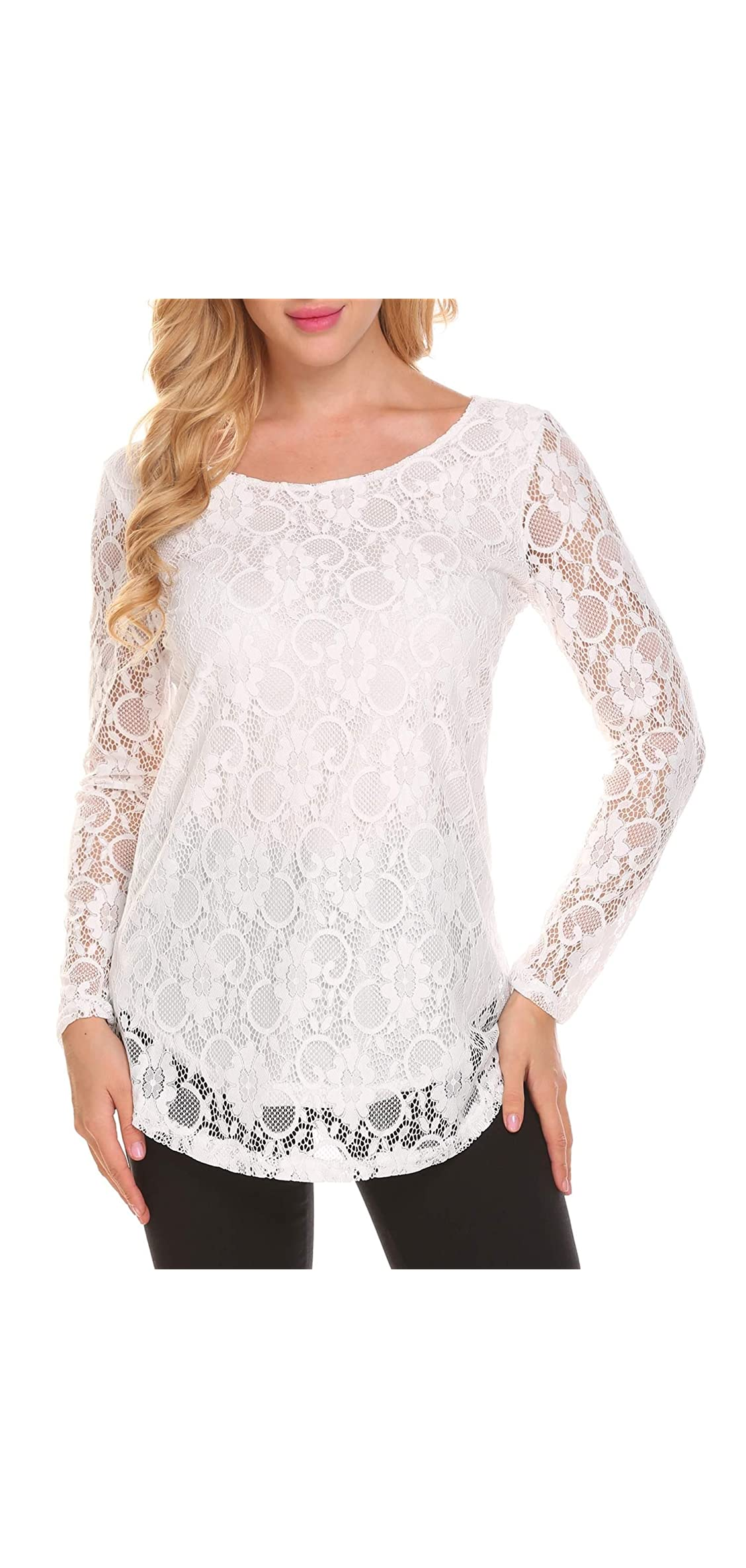 Lace Blouse Women's Long Sleeve Casual Loose Boatneck