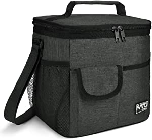Large Insulated Lunch Bag for Women Men, 10L Leakproof Thermal Reusable Lunch Box for Adult & Kids, Tall Meal Prep Lunch Cooler Tote with 4 Pockets for Office Work by Tirrinia, Black