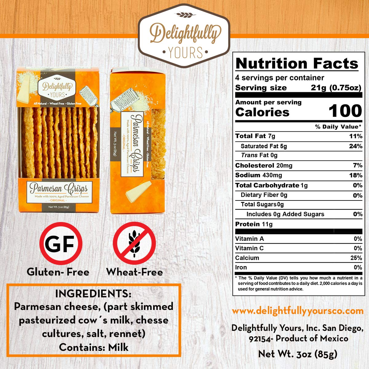 Delightfully Yours: Low Carb Parmesan Cheese Crisps {ORIGINAL Flavor} 100% aged - Flavorful Handmade - Keto Friendly Snack - All Natural - Wheat Free - Gluten Free - Protein Packed 12 OZ (4 PACK) by Delightfully Yours (Image #6)