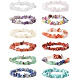 LOYALLOOK 8-12Pcs Natural Gemstone Chakra Crystal Healing Chip Gemstone Stretch Bracelets Tumble Polished Align Chakras…