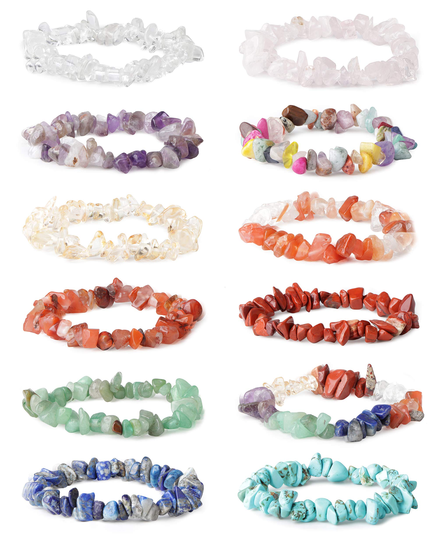 LOYALLOOK 12Pcs Natural Gemstone Chakra Crystal Healing Chip Gemstone Stretch Bracelets Tumble Polished Align Chakras/Conquer Fear/Increase Communication Reiki by LOYALLOOK