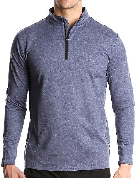 df812879df2da Fort Isle Men's Long Sleeve Half-Zip Pull Over Shirt - Quick Dry ...
