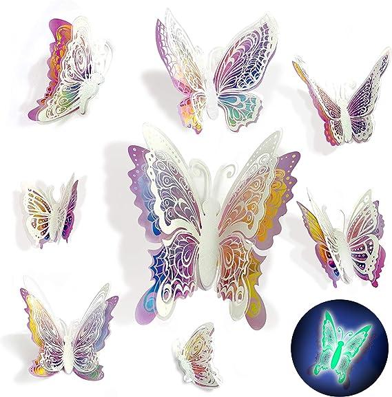 24 pieces 3D Mariposas decorativas decoracion de habitaciones brillar en Oscuridad