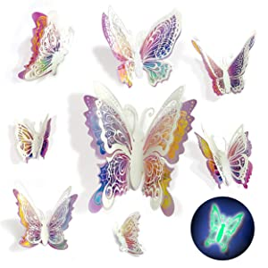 Butterfly Wall Decals Stickers - 3D Decor, Glow in the Dark After Exposure To Light - 8 Easy To Stick Removable Wall Decorations, Malkan Signs