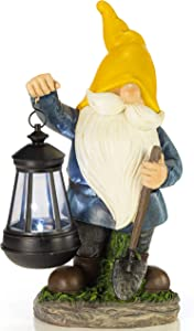 VP Home Earnest Garden Gnome with Lantern Solar Powered LED Outdoor Decor Light (Yellow Hat)