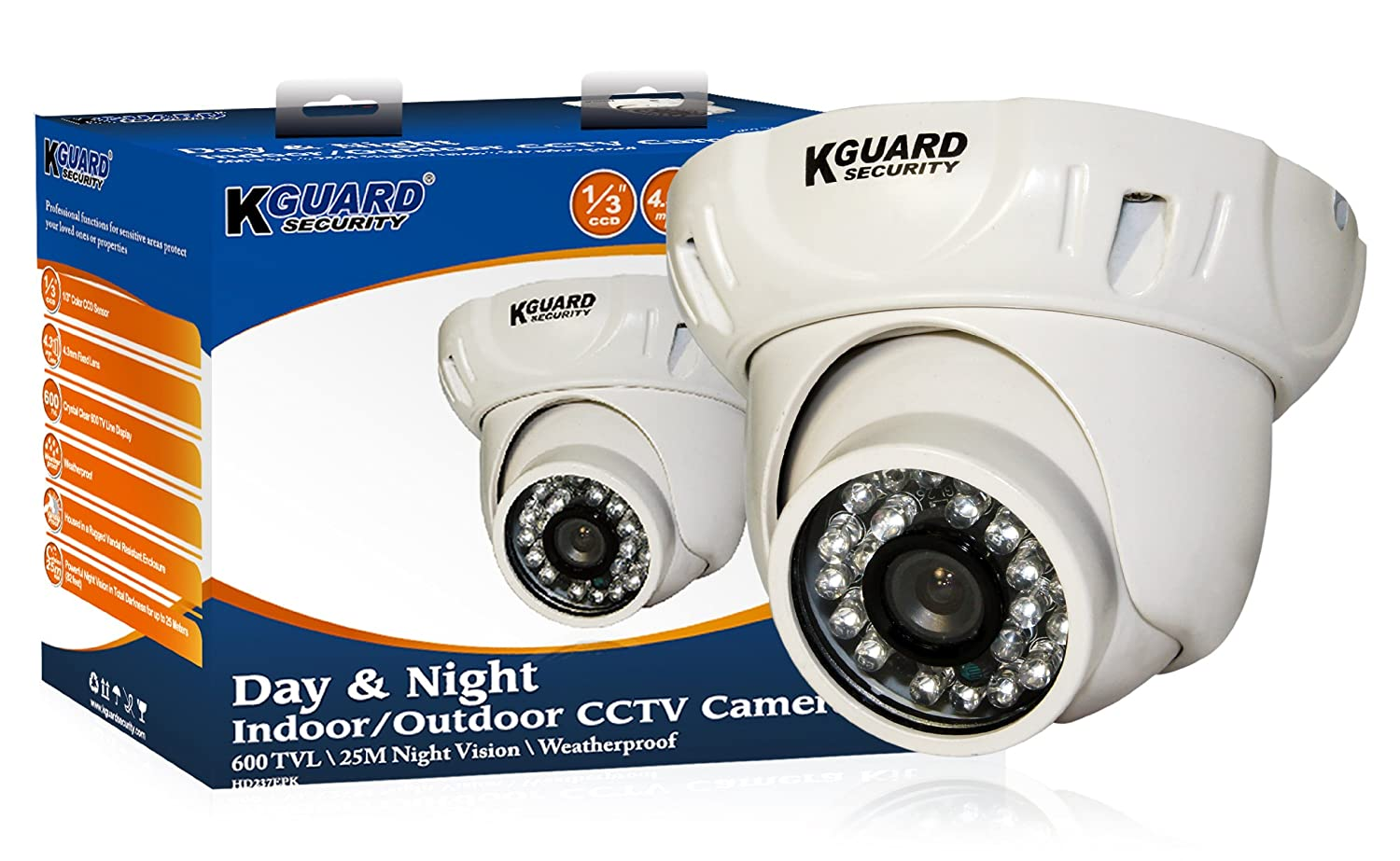 KGUARD SecurityInc. CAM KIT-HD237EPK 600TVL 82-Feet Night Vision Outdoor Day and Night Dome Camera (White) [並行輸入品] B019SZF052