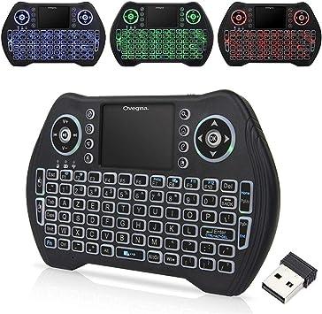Ovegna M10: Mini Teclado inalámbrico con retroiluminación (AZERTY) Inalámbrico con Touchpad, para Smart TV, Mini PC, HTPC, Consola, Computadora, Raspberry 2/3, Android TV: Amazon.es: Electrónica