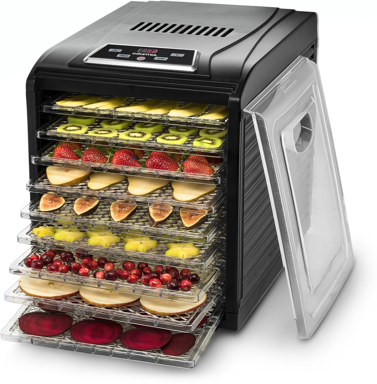 Gourmia GFD1950 Premium Electric Food Dehydrator Machine - Digital Timer and Temperature Control - 9 Drying Trays - Perfect for Beef Jerky, Herbs, Fruit Leather - BPA Free - Black