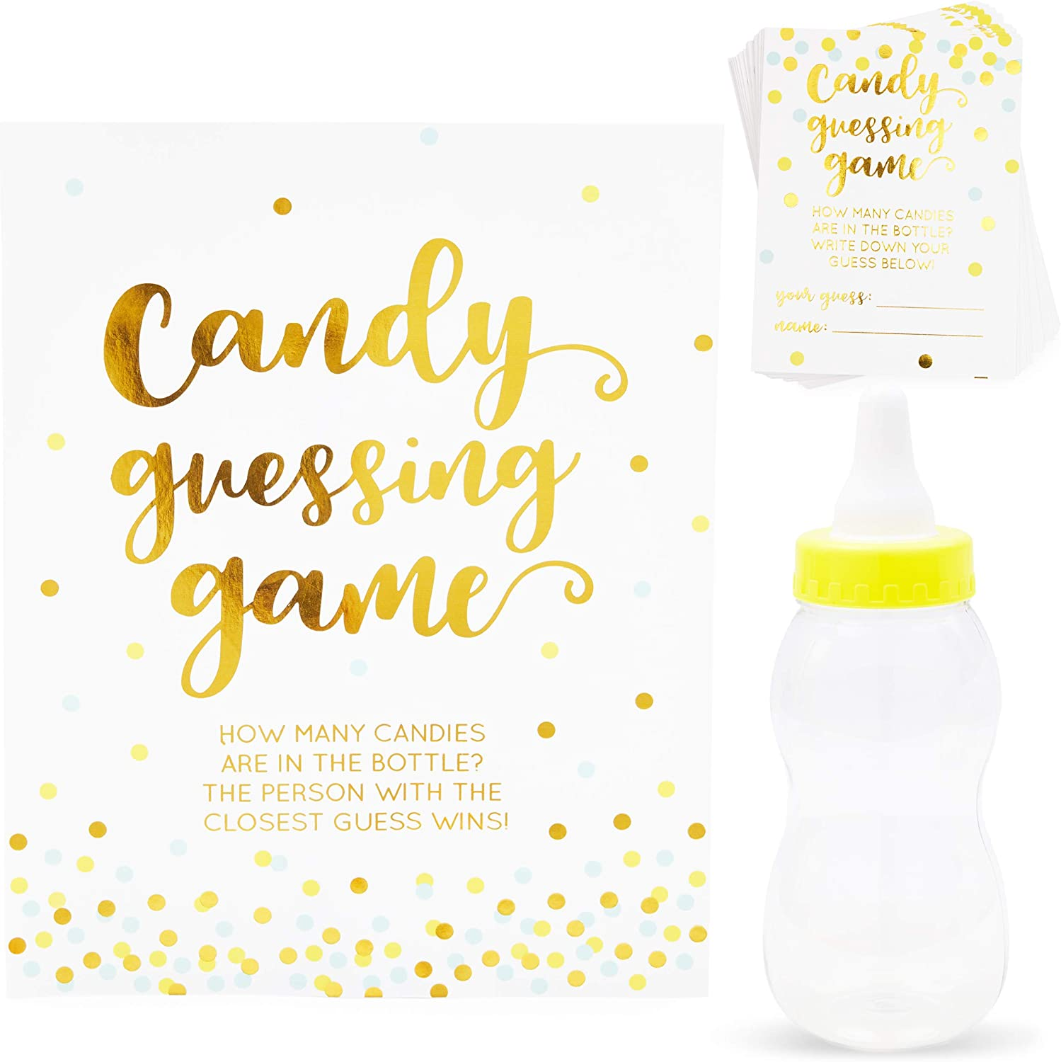 Candy Bottle Guessing Game for Baby Showers (11 in., Gold, 38 Pieces)