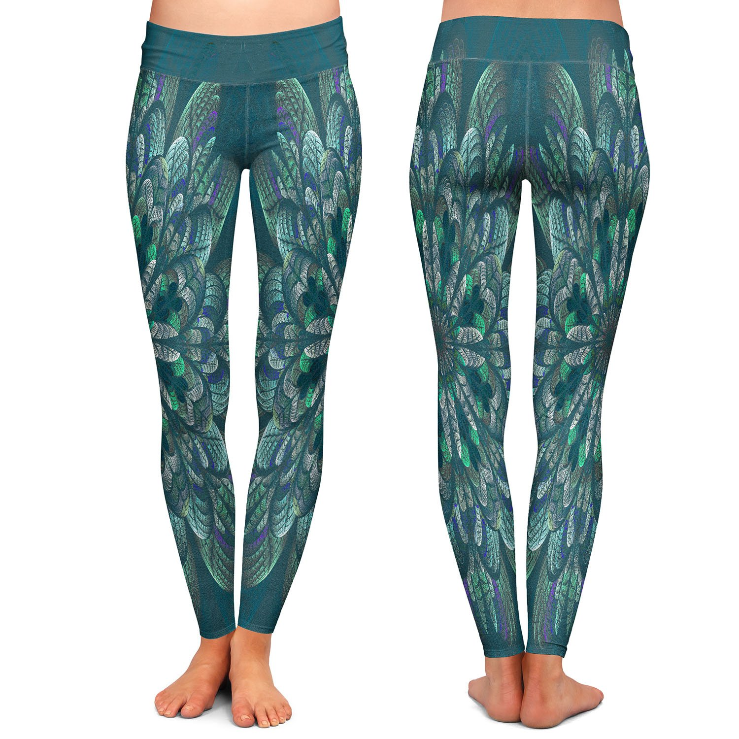 Athletic Yoga Leggings from DiaNoche Designs by Pam Amos Quilted Flower Pine