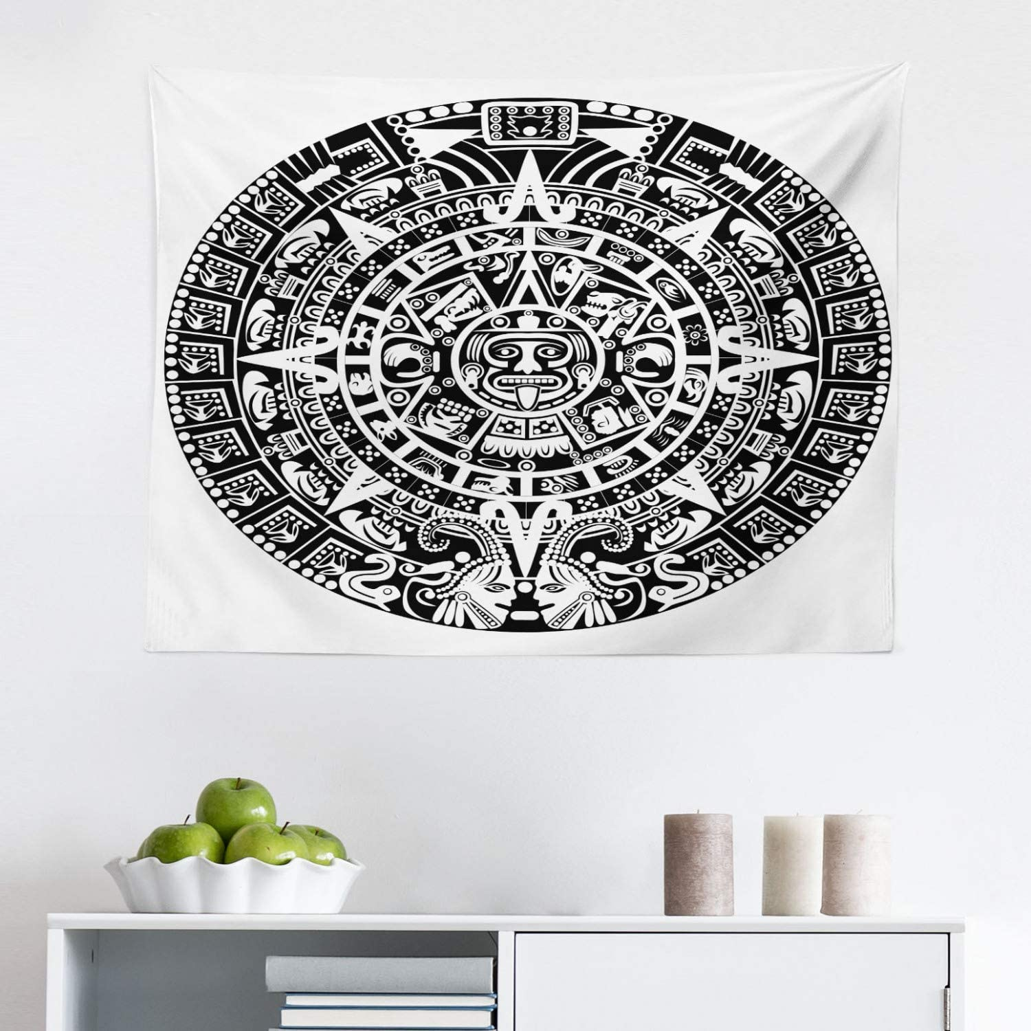 Lunarable Aztec Tapestry, Mayan Calendar End of The World Prophecy Mystery Cool Culture Design Print, Fabric Wall Hanging Decor for Bedroom Living Room Dorm, 28