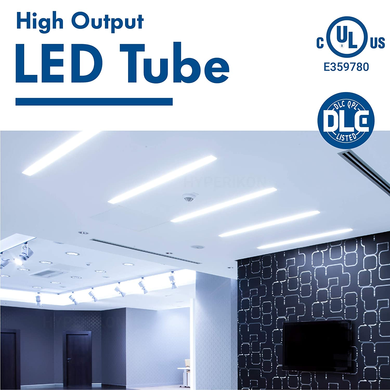 Frosted Hyperikon T8 4 Foot LED Bulb UL T10 T12 Light Tube 18W 4000K Daylight 6 Pack Single End Ballast Bypass DLC Glass 40 Watt Replacement