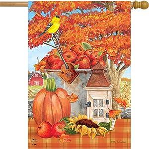 "Briarwood Lane Apple Picking Autumn House Flag Farm Rustic Lantern 28"" x 40"""
