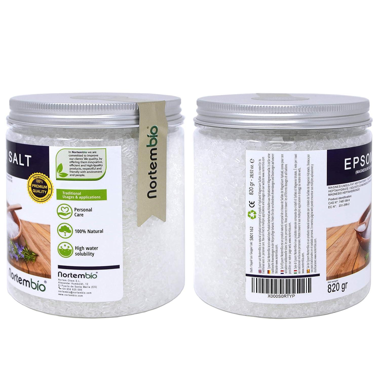 NortemBio Sal de Epsom 820g, Fuente concentrada de Magnesio, Sales 100% Naturales. Baño y Cuidado Personal.: Amazon.es: Hogar