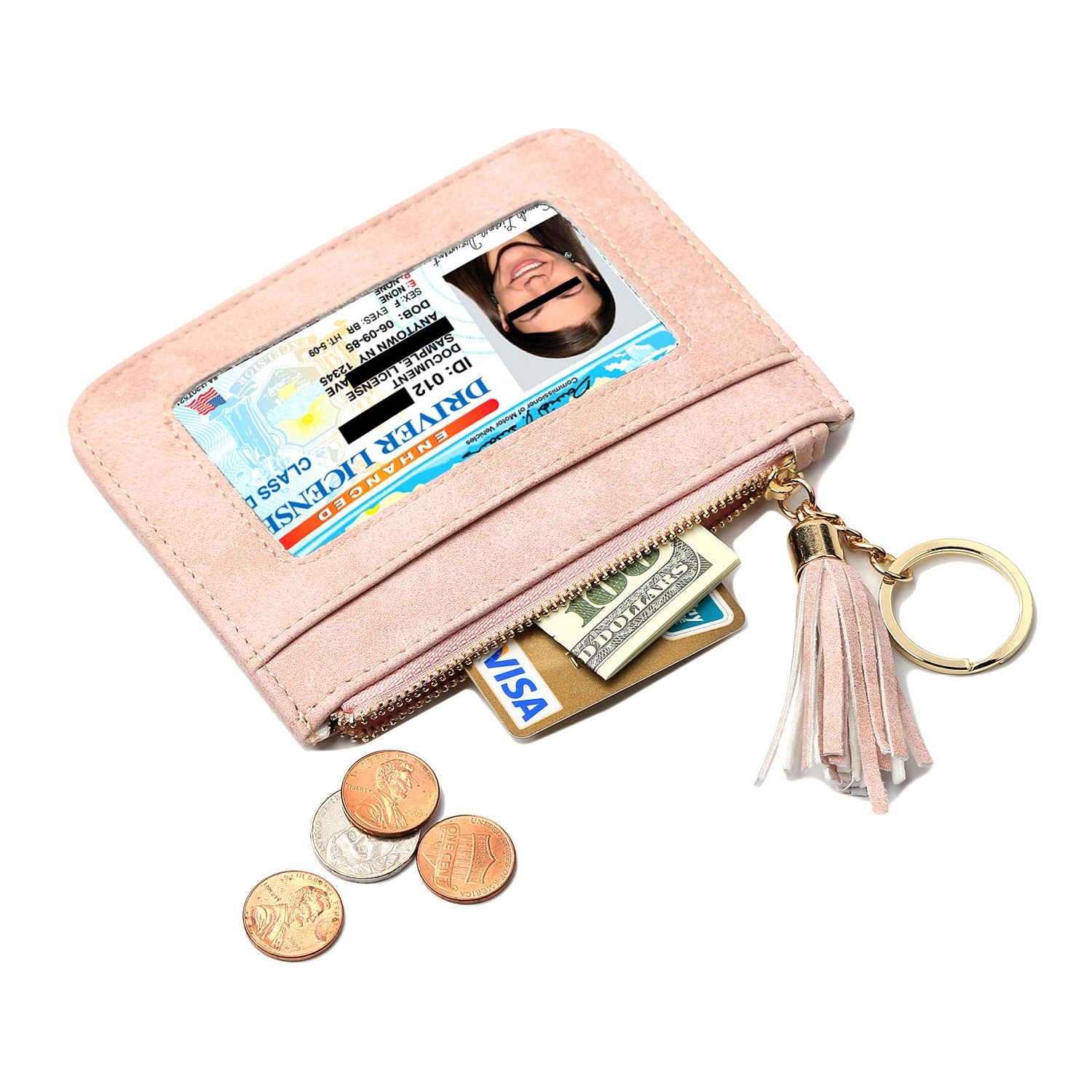 Pink Coin Purse - Leather Wallet - Credit Card Holder with Key Ring and ID Window