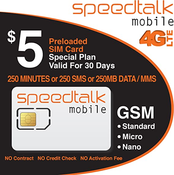 Amazon.com: $5 Prepaid GSM tarjeta SIM 250 minutos o de ...