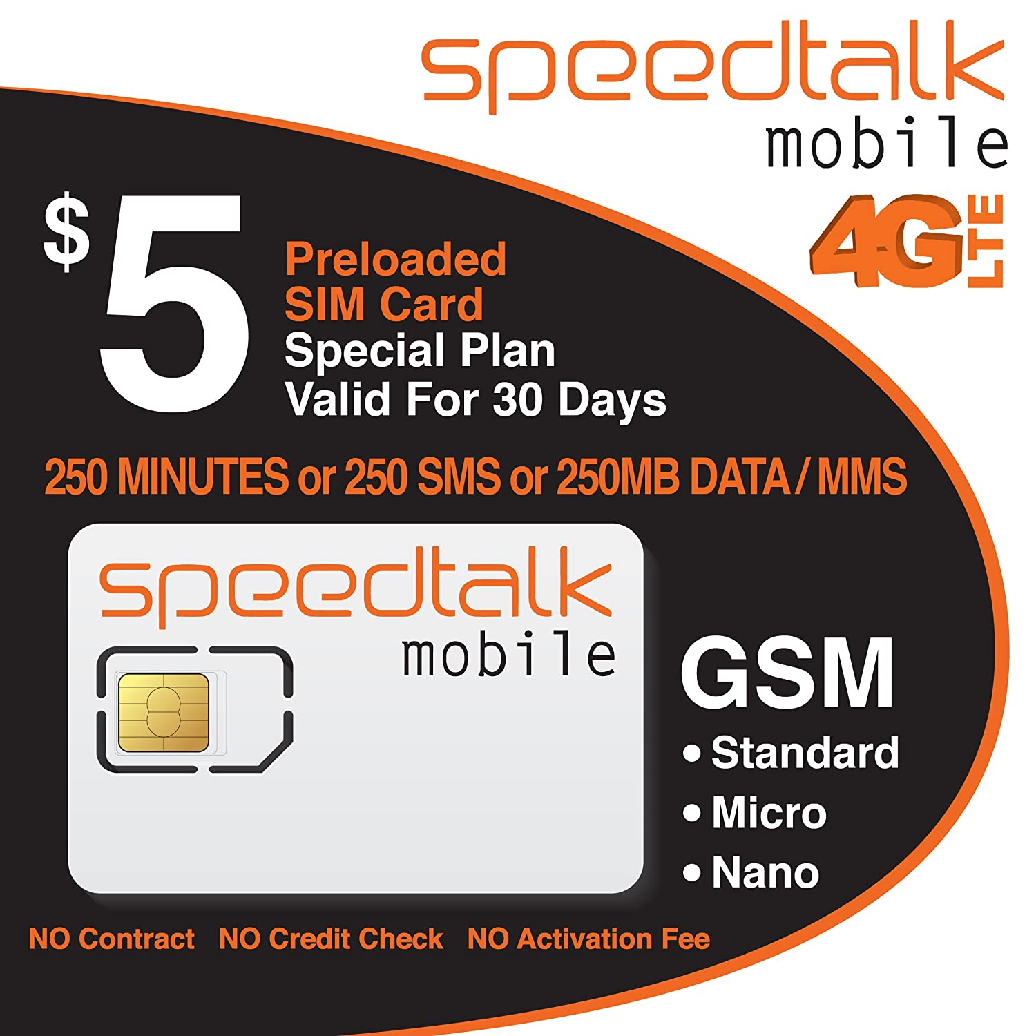 $5 Prepaid GSM SIM Card 250 Minutes Talk or 250 Text or 250MB Data 30 Day Service- No Contract