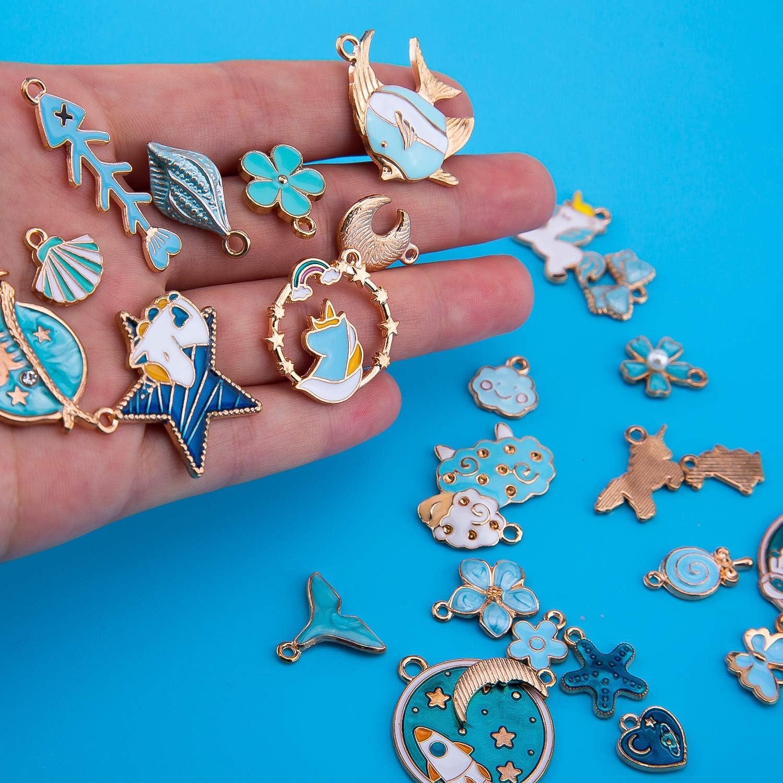 Braccialetti Che Fanno Rifornimenti KINBOM 31 Pezzi Ciondoli Blu Smaltati Adorabili Ciondoli a Tema Blu Set di Ciondoli a Base Blu Metallizzata Collane per Orecchini