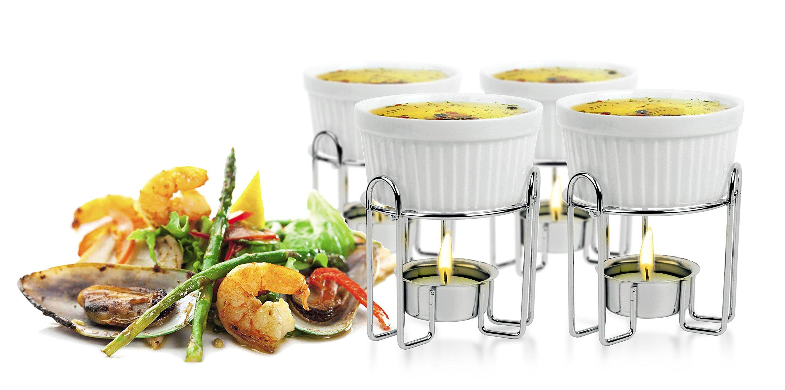 Artestia Ceramic Butter Warmer Set for Seafood (4, white)