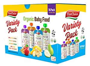 First Choice 16-Pack Organic Baby Food Pouches Stage 2 & Up, 4 Ounce Fruit and Veggie Pureed Baby Food Pouch Variety Pack, The Best Baby Puree, Apple, Bananas, Oatmeal, Peach, Sweet Potatoes & More