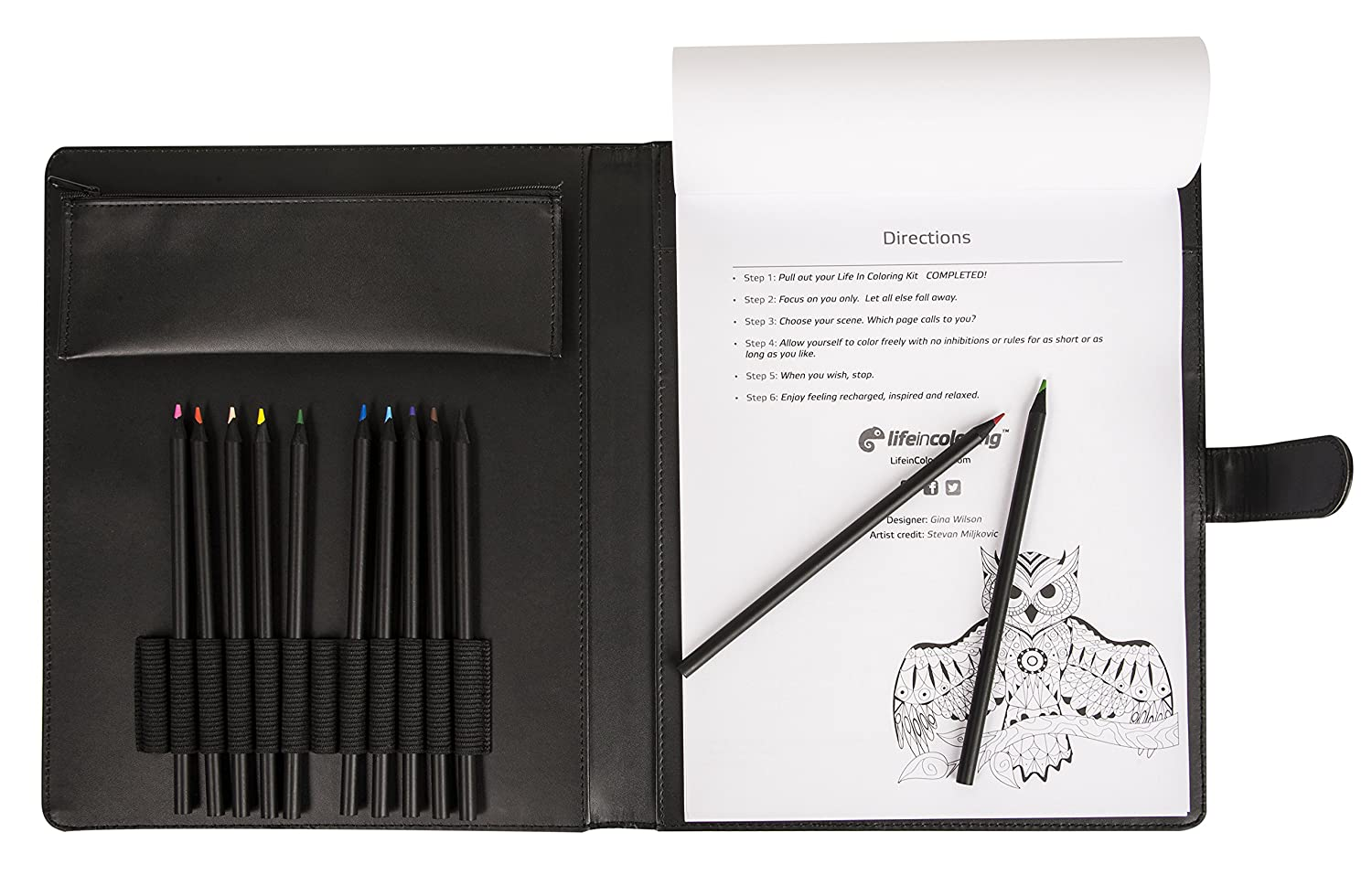 amazoncom complete adult coloring book kit by life in coloring set includes elegant portable refillable travel carrying case features inspirational