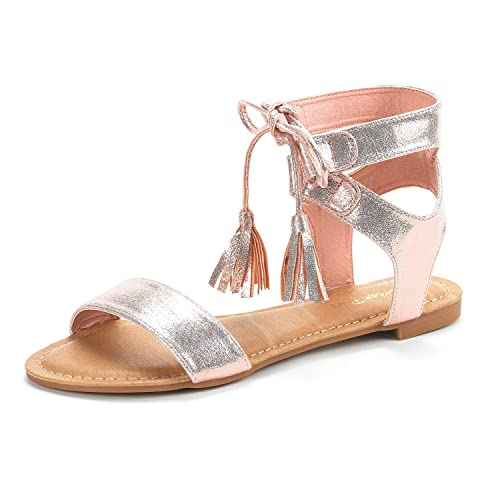 12a7e8ec96 DREAM PAIRS Women's Bowtie Champagne Gold Ankle Strap Gladiator Flat Sandals  Size 5 ...