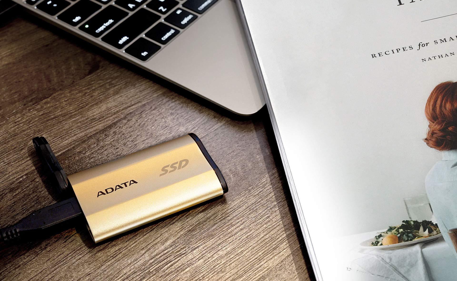 ADATA SE730H 512GB USB 3.1 Gen 2 Type-C Waterproof Shockproof Portable External Solid State Drive GOLD (ASE730H-512GU31-CGD)