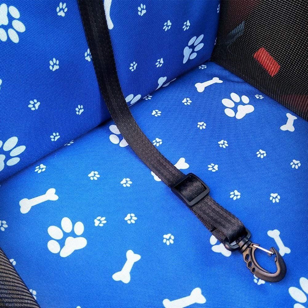 Footprint BOENTA Car Booster Seat for Dog Pet Car Seat Carrier Outdoor Travel Carrier Bag Cage Portable Foldable with Clip-On Safety Leash Blue