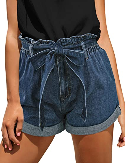 GRACE KARIN Womens Elastic Waist Summer Shorts Wide Leg Shorts Pants Fold-up Leg