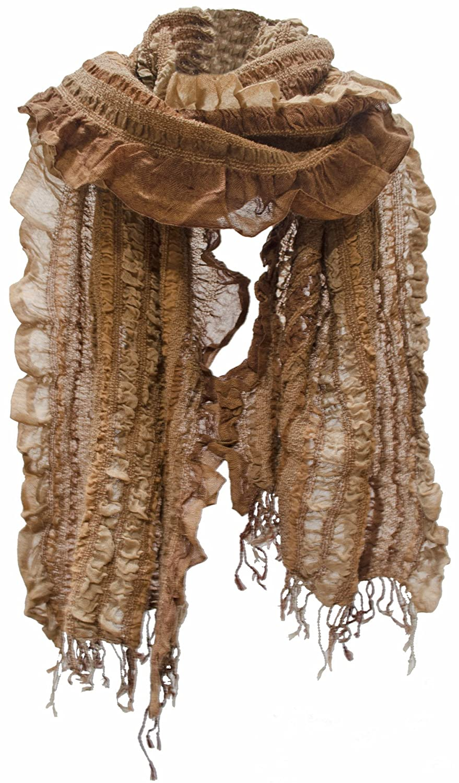 Striped Lightweight Crushed Ruffle Wool Scarf Stole Shawl Warp Fringe Mocha Rust Brown